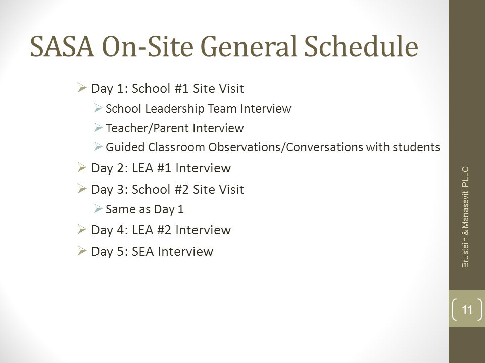 SASA On-Site General Schedule Day 1: School #1 Site Visit School Leadership Team Interview Teacher/Parent Interview Guided Classroom Observations/Conversations with students Day 2: LEA #1 Interview Day 3: School #2 Site Visit Same as Day 1 Day 4: LEA #2 Interview Day 5: SEA Interview Brustein & Manasevit, PLLC 11