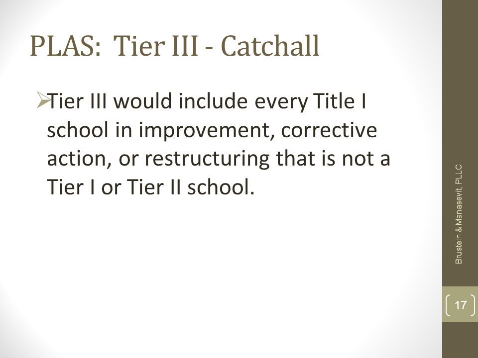 PLAS: Tier III - Catchall Tier III would include every Title I school in improvement, corrective action, or restructuring that is not a Tier I or Tier II school.