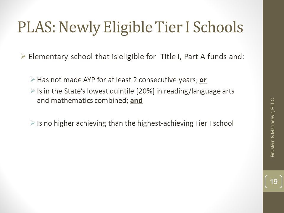 PLAS: Newly Eligible Tier I Schools Elementary school that is eligible for Title I, Part A funds and: Has not made AYP for at least 2 consecutive years; or Is in the States lowest quintile [20%] in reading/language arts and mathematics combined; and Is no higher achieving than the highest-achieving Tier I school Brustein & Manasevit, PLLC 19