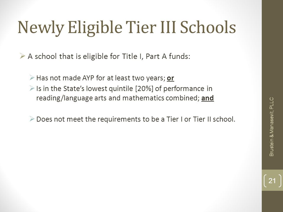 Newly Eligible Tier III Schools A school that is eligible for Title I, Part A funds: Has not made AYP for at least two years; or Is in the States lowest quintile [20%] of performance in reading/language arts and mathematics combined; and Does not meet the requirements to be a Tier I or Tier II school.