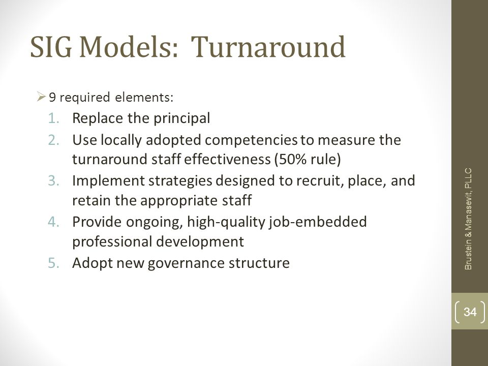 SIG Models: Turnaround 9 required elements: 1.Replace the principal 2.Use locally adopted competencies to measure the turnaround staff effectiveness (50% rule) 3.Implement strategies designed to recruit, place, and retain the appropriate staff 4.Provide ongoing, high-quality job-embedded professional development 5.Adopt new governance structure Brustein & Manasevit, PLLC 34