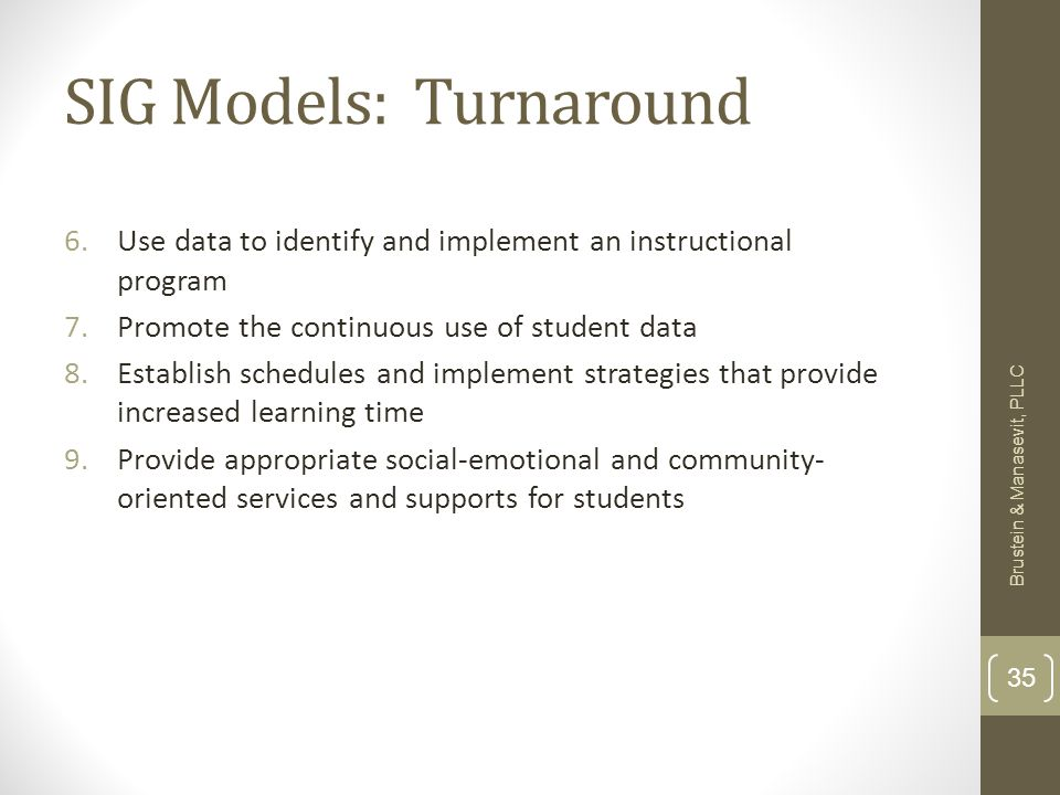 SIG Models: Turnaround 6.Use data to identify and implement an instructional program 7.Promote the continuous use of student data 8.Establish schedules and implement strategies that provide increased learning time 9.Provide appropriate social-emotional and community- oriented services and supports for students Brustein & Manasevit, PLLC 35