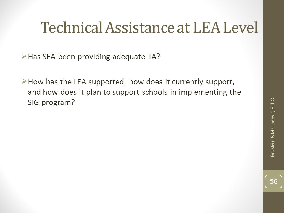 Technical Assistance at LEA Level Has SEA been providing adequate TA.