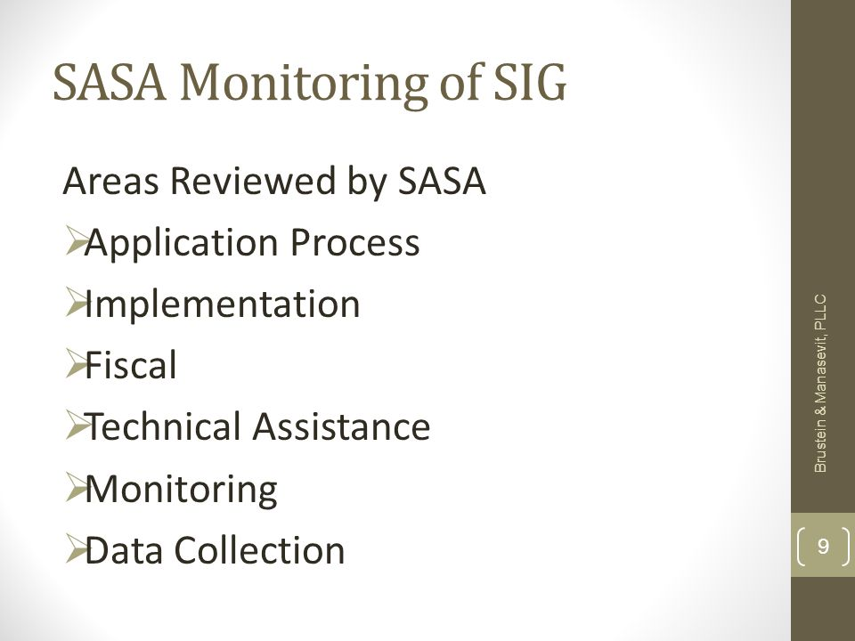 SASA Monitoring of SIG Areas Reviewed by SASA Application Process Implementation Fiscal Technical Assistance Monitoring Data Collection Brustein & Manasevit, PLLC 9