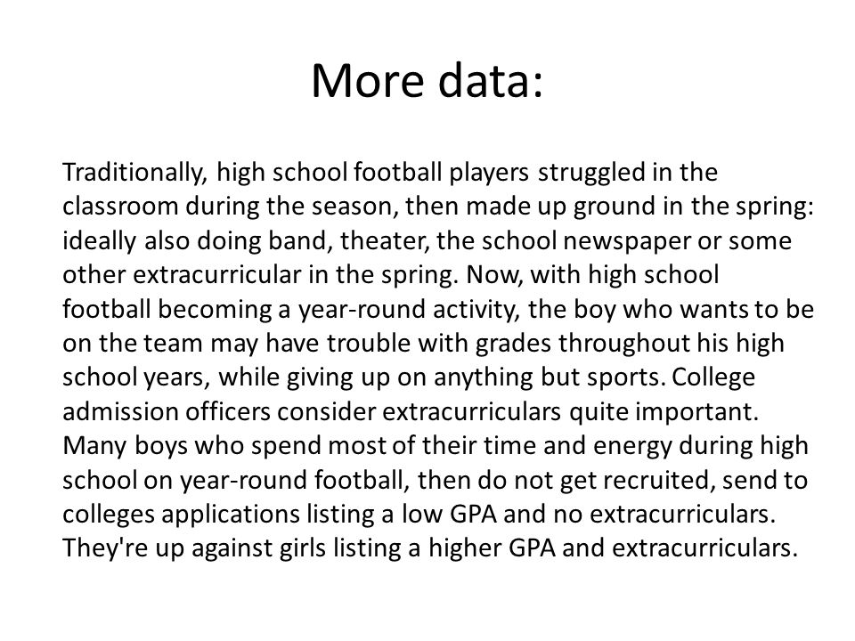 More data: Traditionally, high school football players struggled in the classroom during the season, then made up ground in the spring: ideally also doing band, theater, the school newspaper or some other extracurricular in the spring.