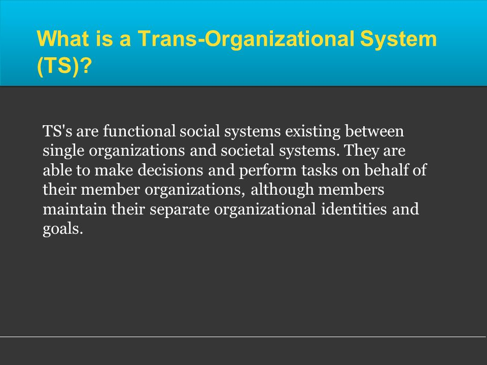 What is a Trans-Organizational System (TS).