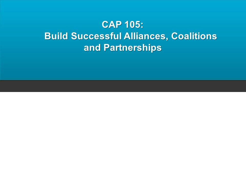 CAP 105: Build Successful Alliances, Coalitions and Partnerships