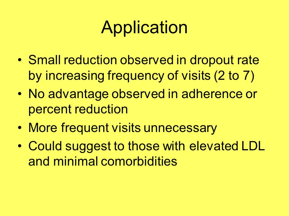 Application Small reduction observed in dropout rate by increasing frequency of visits (2 to 7) No advantage observed in adherence or percent reduction More frequent visits unnecessary Could suggest to those with elevated LDL and minimal comorbidities