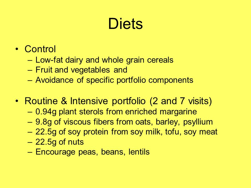 Diets Control –Low-fat dairy and whole grain cereals –Fruit and vegetables and –Avoidance of specific portfolio components Routine & Intensive portfolio (2 and 7 visits) –0.94g plant sterols from enriched margarine –9.8g of viscous fibers from oats, barley, psyllium –22.5g of soy protein from soy milk, tofu, soy meat –22.5g of nuts –Encourage peas, beans, lentils