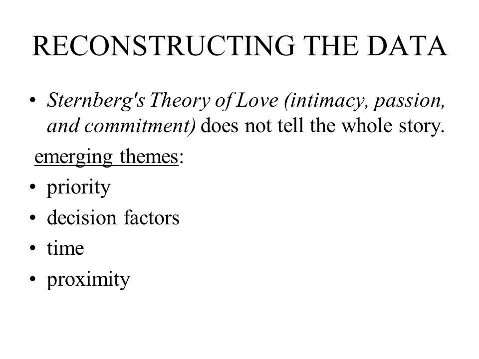 RECONSTRUCTING THE DATA Sternberg s Theory of Love (intimacy, passion, and commitment) does not tell the whole story.