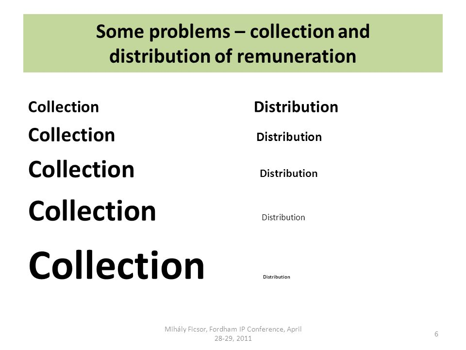 Some problems – collection and distribution of remuneration Collection Distribution Mihály Ficsor, Fordham IP Conference, April 28-29, 2011 6