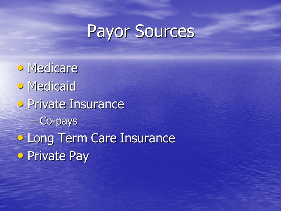 Payor Sources Medicare Medicare Medicaid Medicaid Private Insurance Private Insurance –Co-pays Long Term Care Insurance Long Term Care Insurance Private Pay Private Pay