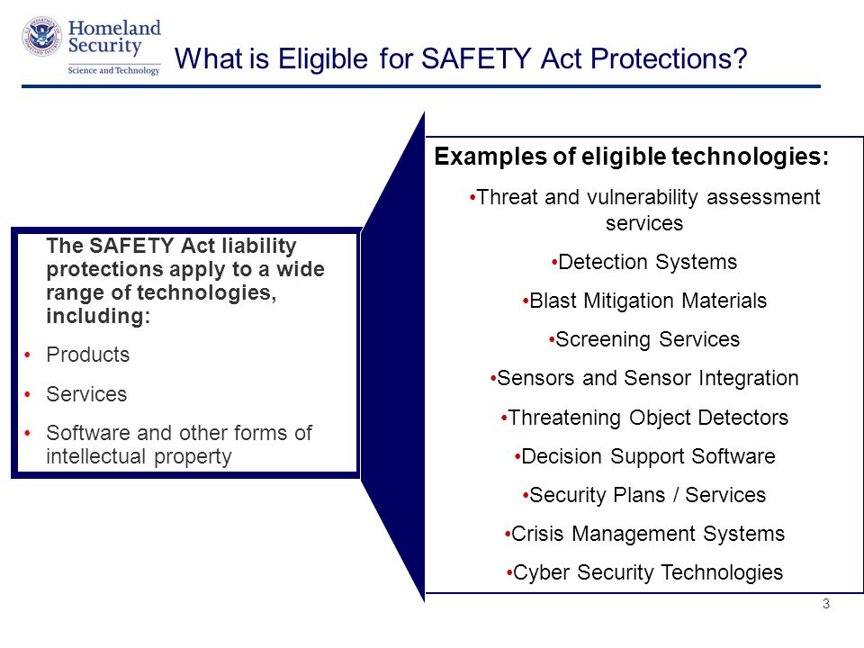 Presenters Name June 17, 2003 What is Eligible for SAFETY Act Protections.
