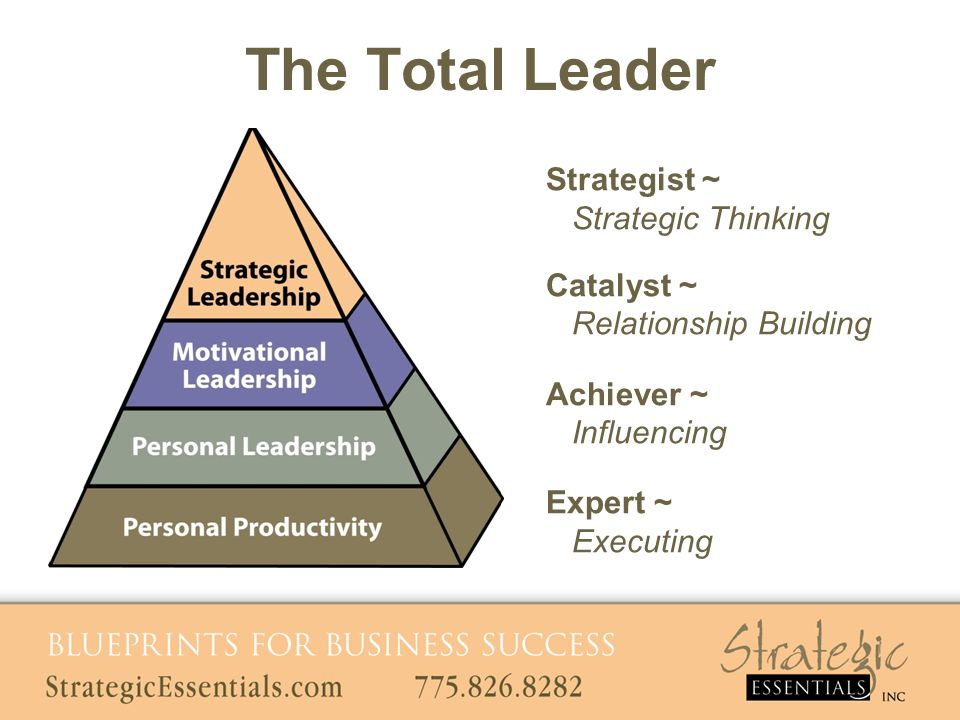 The Total Leader Strategist ~ Strategic Thinking Catalyst ~ Relationship Building Achiever ~ Influencing Expert ~ Executing