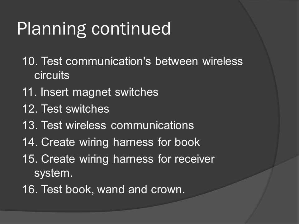 Planning continued 10. Test communication s between wireless circuits 11.