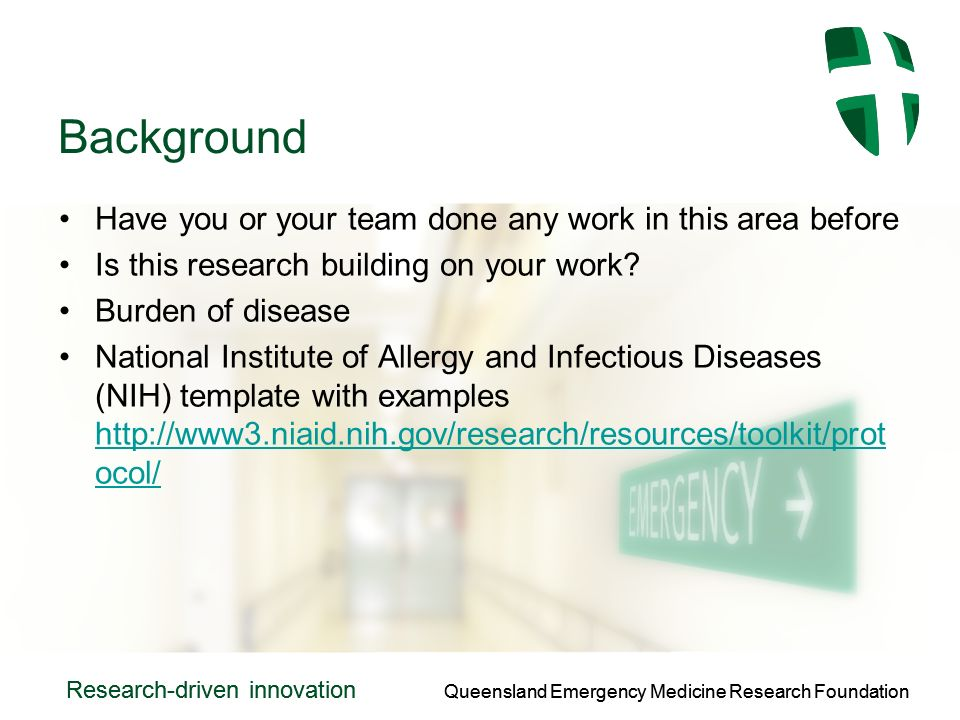 Queensland Emergency Medicine Research Foundation Research-driven innovation Queensland Emergency Medicine Research Foundation Research-driven innovation Background Have you or your team done any work in this area before Is this research building on your work.