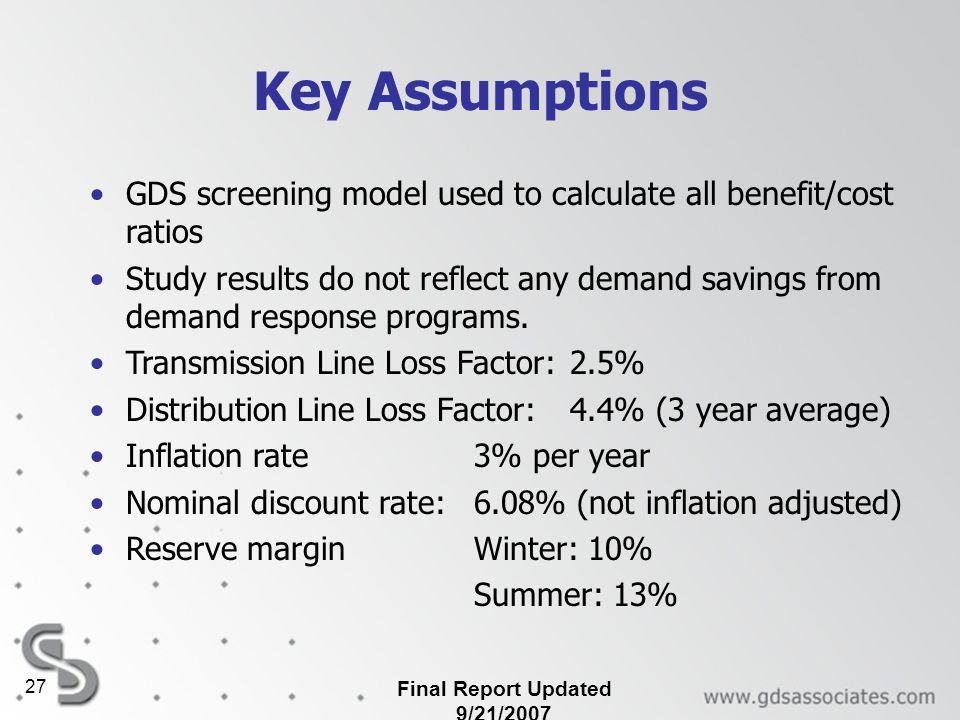Final Report Updated 9/21/2007 27 Key Assumptions GDS screening model used to calculate all benefit/cost ratios Study results do not reflect any demand savings from demand response programs.