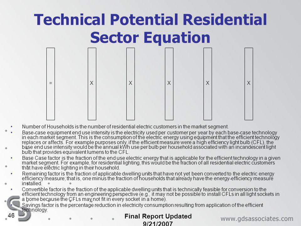 Final Report Updated 9/21/2007 46 Technical Potential Residential Sector Equation Number of Households is the number of residential electric customers in the market segment.