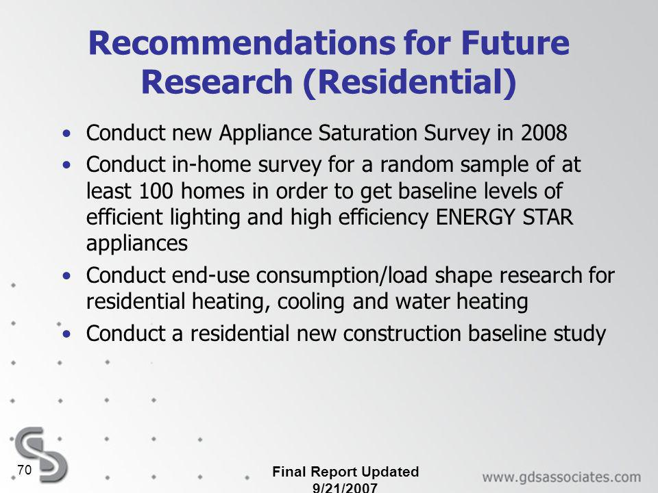 Final Report Updated 9/21/2007 70 Recommendations for Future Research (Residential) Conduct new Appliance Saturation Survey in 2008 Conduct in-home survey for a random sample of at least 100 homes in order to get baseline levels of efficient lighting and high efficiency ENERGY STAR appliances Conduct end-use consumption/load shape research for residential heating, cooling and water heating Conduct a residential new construction baseline study