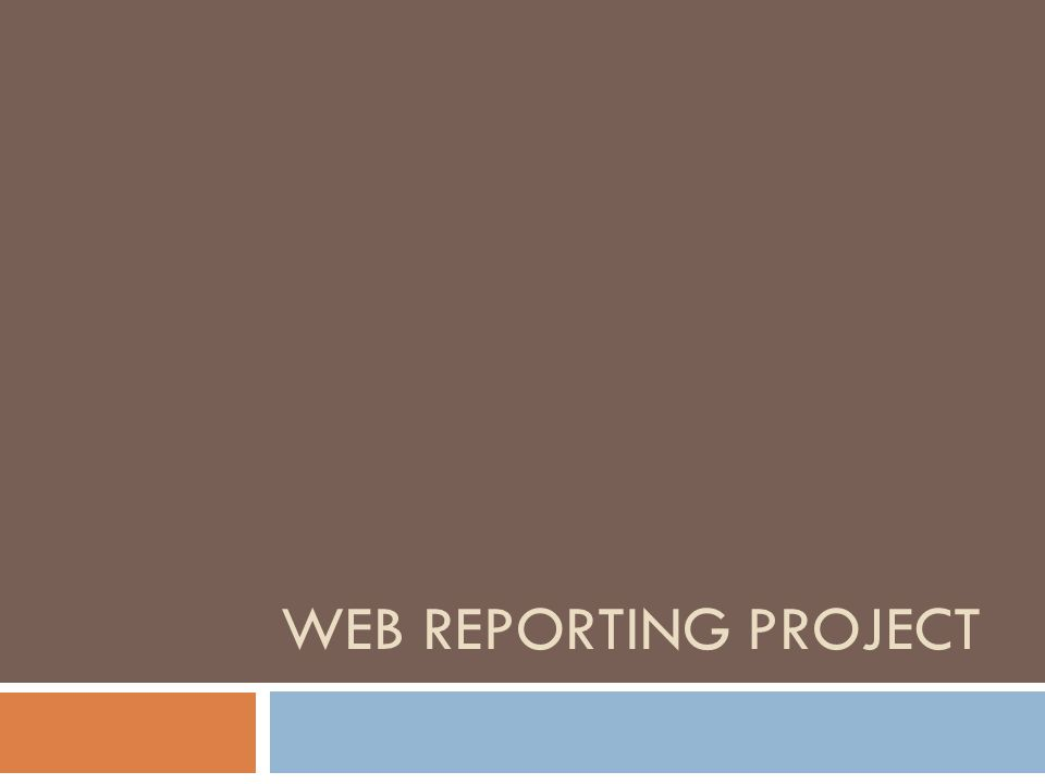 WEB REPORTING PROJECT