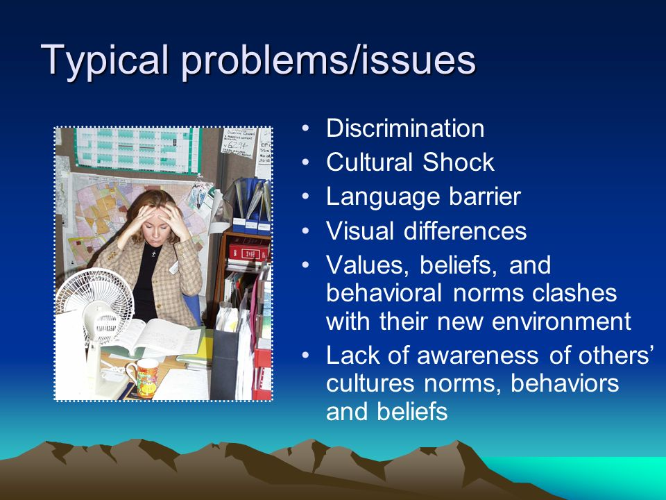 Typical problems/issues Discrimination Cultural Shock Language barrier Visual differences Values, beliefs, and behavioral norms clashes with their new environment Lack of awareness of others cultures norms, behaviors and beliefs