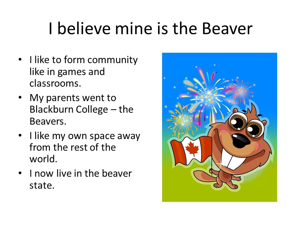I believe mine is the Beaver I like to form community like in games and classrooms.