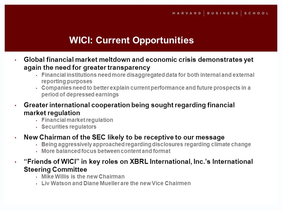 WICI: Current Opportunities Global financial market meltdown and economic crisis demonstrates yet again the need for greater transparency Financial institutions need more disaggregated data for both internal and external reporting purposes Companies need to better explain current performance and future prospects in a period of depressed earnings Greater international cooperation being sought regarding financial market regulation Financial market regulation Securities regulators New Chairman of the SEC likely to be receptive to our message Being aggressively approached regarding disclosures regarding climate change More balanced focus between content and format Friends of WICI in key roles on XBRL International, Inc.s International Steering Committee Mike Willis is the new Chairman Liv Watson and Diane Mueller are the new Vice Chairmen