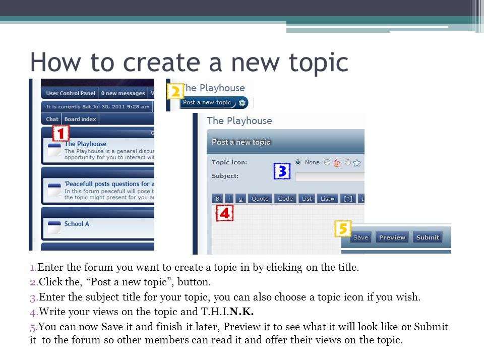 How to create a new topic 1.Enter the forum you want to create a topic in by clicking on the title.