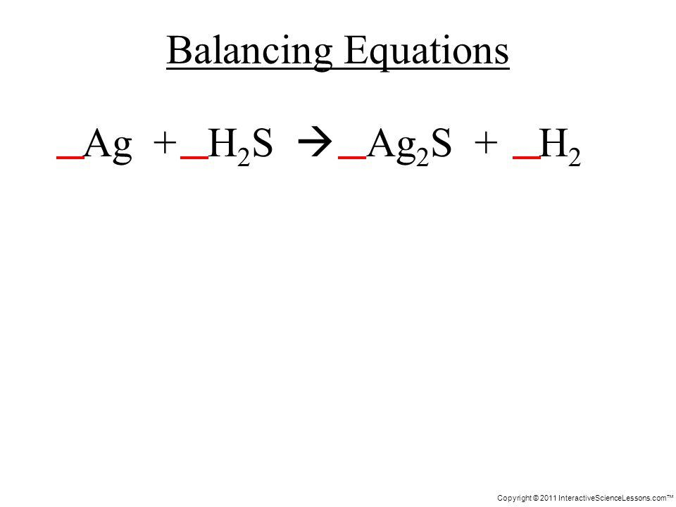 Copyright © 2011 InteractiveScienceLessons.com Ag + H 2 S Ag 2 S + H 2 Balancing Equations