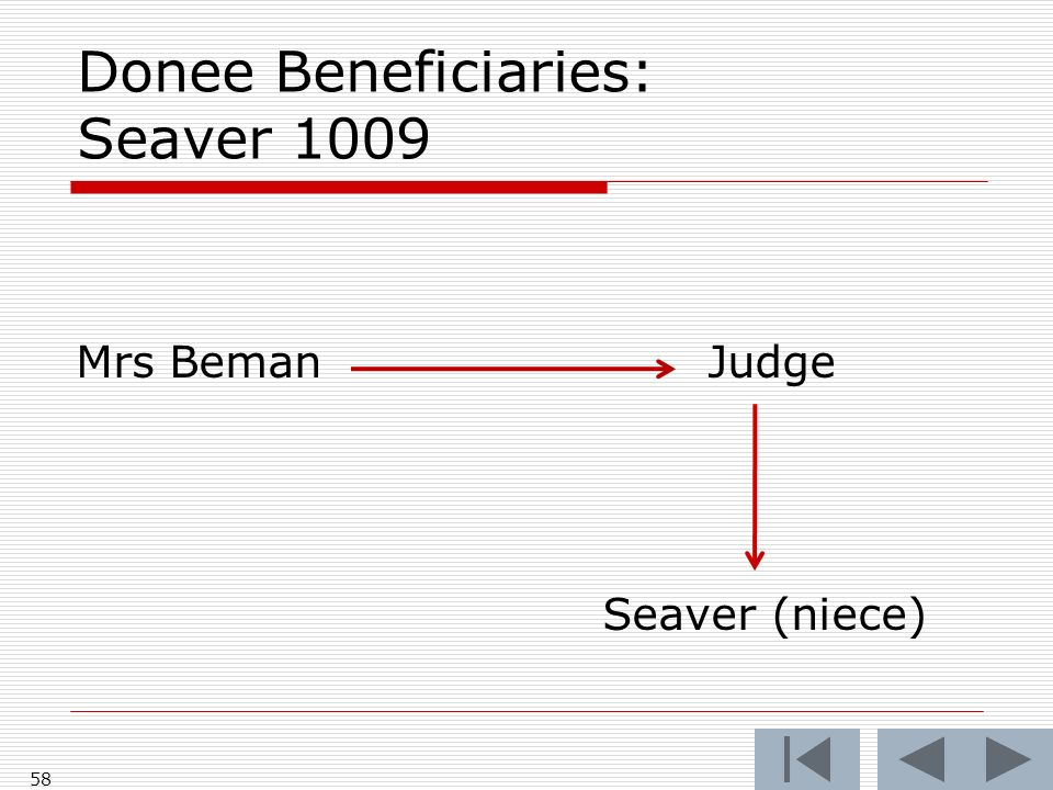 Donee Beneficiaries: Seaver 1009 Mrs BemanJudge Seaver (niece) 58