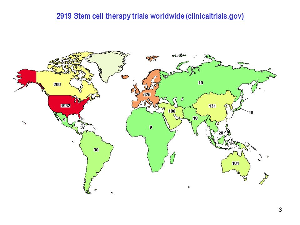 Stem cell therapy trials worldwide (clinicaltrials.gov)