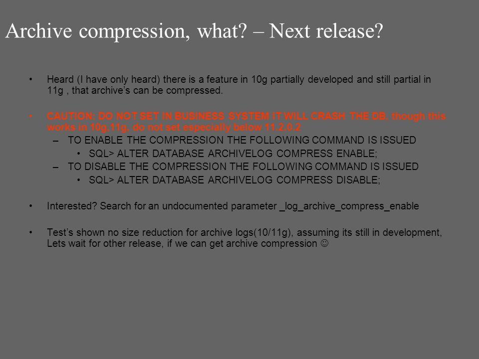 Archive compression, what. – Next release.
