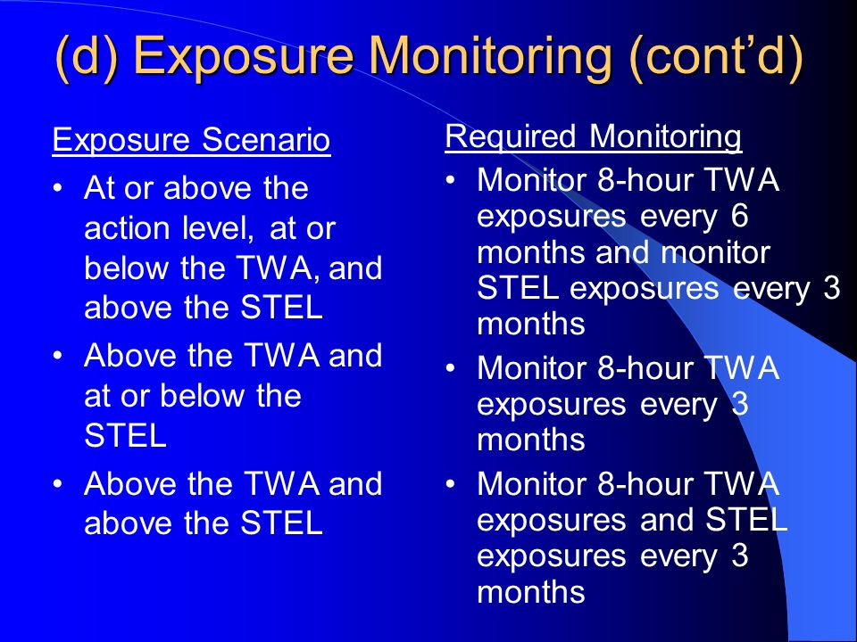 (d) Exposure Monitoring (contd) Exposure Scenario At or above the action level, at or below the TWA, and above the STEL Above the TWA and at or below the STEL Above the TWA and above the STEL Required Monitoring Monitor 8-hour TWA exposures every 6 months and monitor STEL exposures every 3 months Monitor 8-hour TWA exposures every 3 months Monitor 8-hour TWA exposures and STEL exposures every 3 months