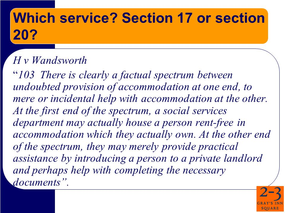 Which service. Section 17 or section 20.
