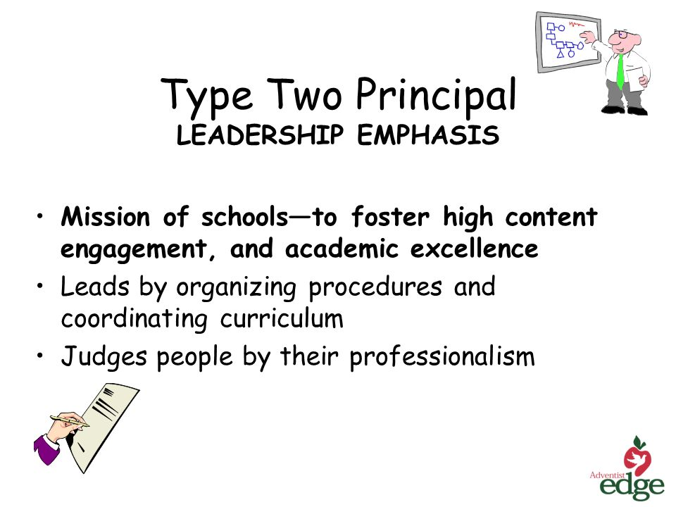 Type Two Principal LEADERSHIP EMPHASIS Mission of schoolsto foster high content engagement, and academic excellence Leads by organizing procedures and coordinating curriculum Judges people by their professionalism