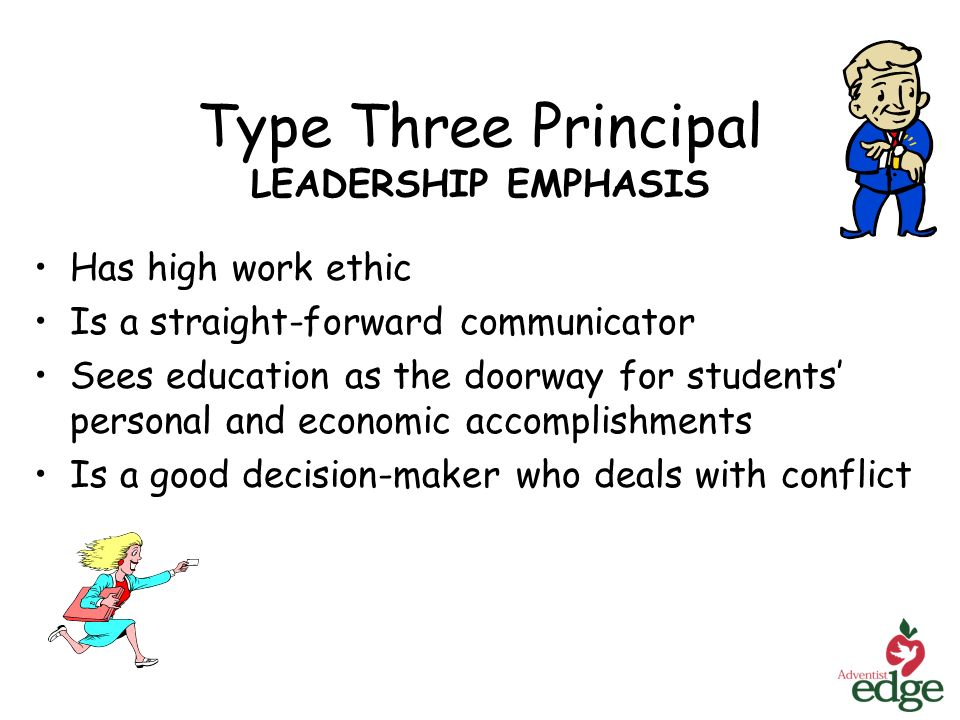 Type Three Principal LEADERSHIP EMPHASIS Has high work ethic Is a straight-forward communicator Sees education as the doorway for students personal and economic accomplishments Is a good decision-maker who deals with conflict