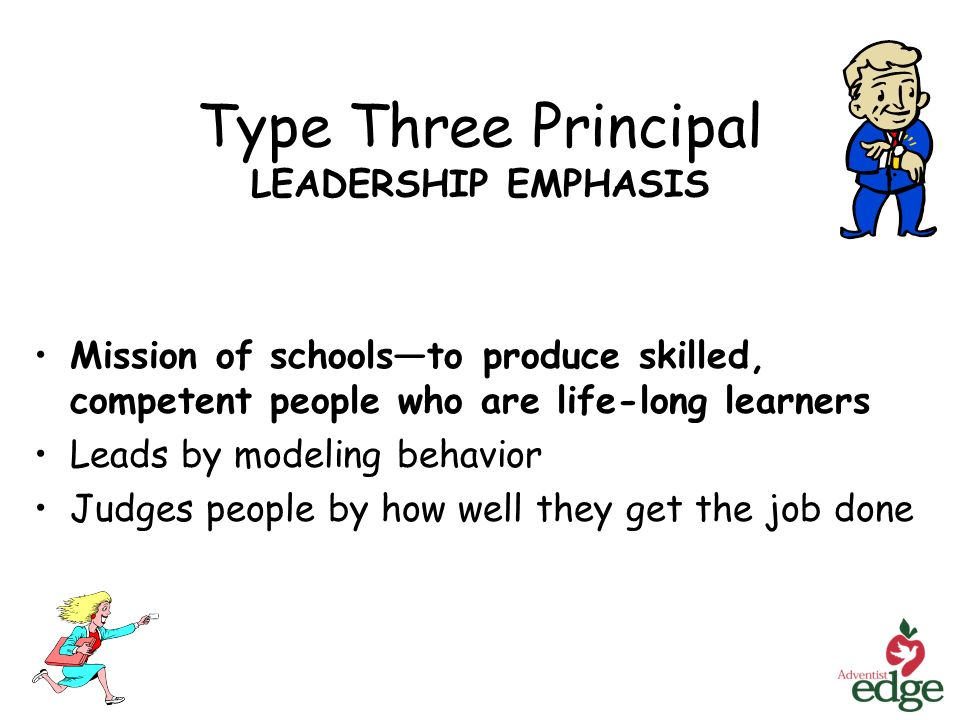Type Three Principal LEADERSHIP EMPHASIS Mission of schoolsto produce skilled, competent people who are life-long learners Leads by modeling behavior Judges people by how well they get the job done