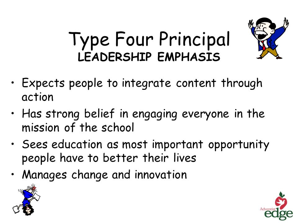 Type Four Principal LEADERSHIP EMPHASIS Expects people to integrate content through action Has strong belief in engaging everyone in the mission of the school Sees education as most important opportunity people have to better their lives Manages change and innovation