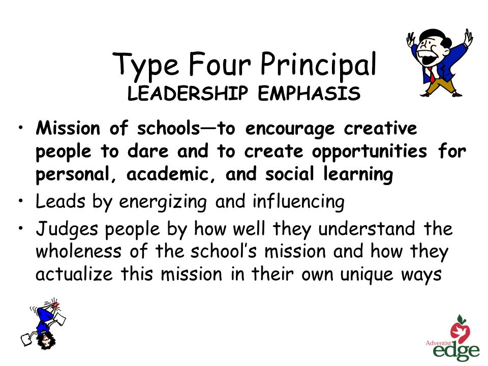 Type Four Principal LEADERSHIP EMPHASIS Mission of schoolsto encourage creative people to dare and to create opportunities for personal, academic, and social learning Leads by energizing and influencing Judges people by how well they understand the wholeness of the schools mission and how they actualize this mission in their own unique ways