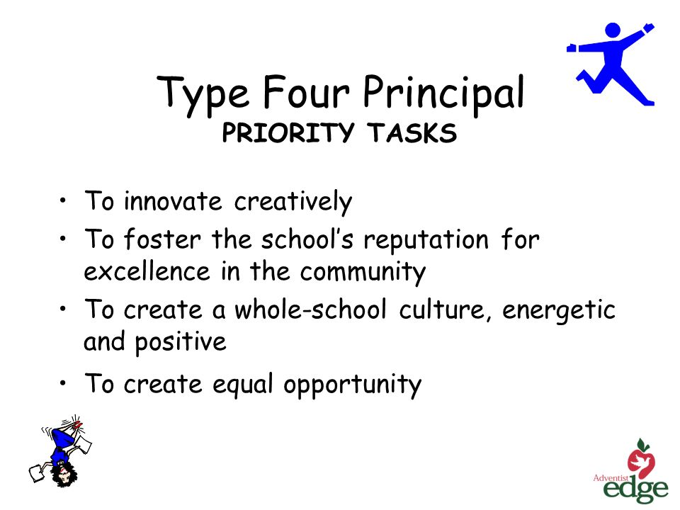 Type Four Principal PRIORITY TASKS To innovate creatively To foster the schools reputation for excellence in the community To create a whole-school culture, energetic and positive To create equal opportunity