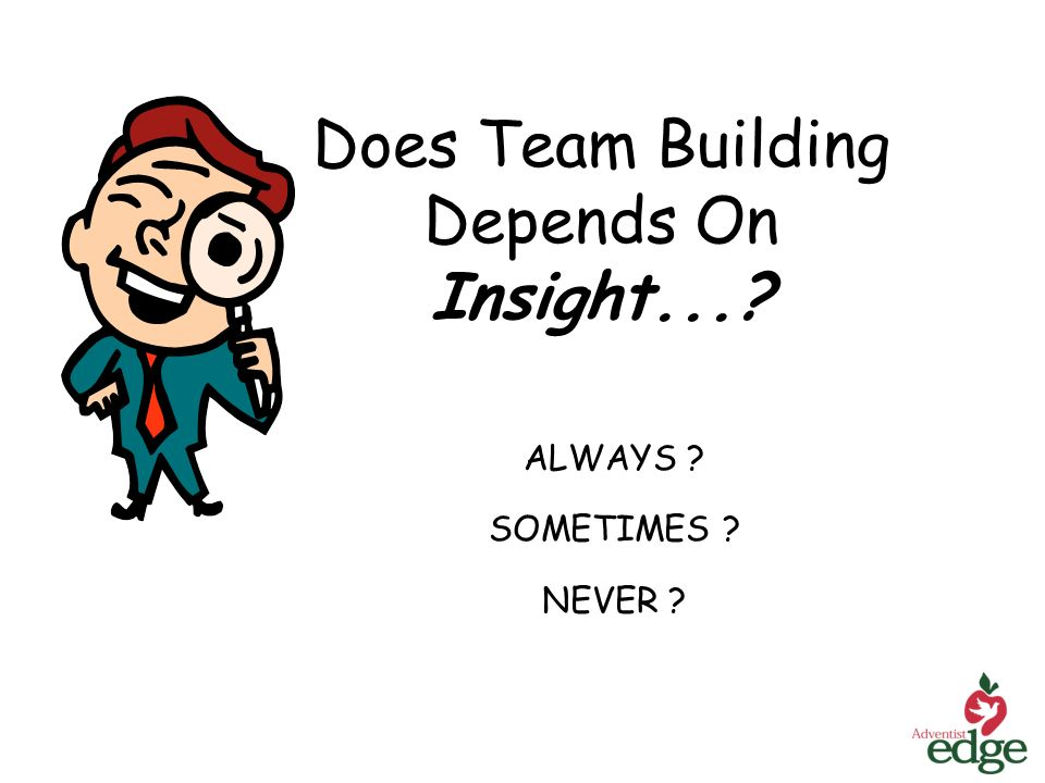 Does Team Building Depends On Insight... ALWAYS SOMETIMES NEVER