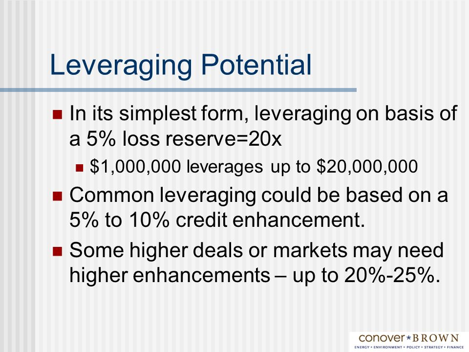 Leveraging Potential In its simplest form, leveraging on basis of a 5% loss reserve=20x $1,000,000 leverages up to $20,000,000 Common leveraging could be based on a 5% to 10% credit enhancement.
