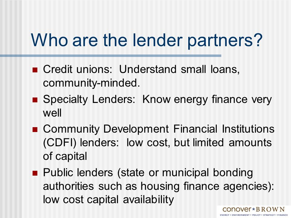 Who are the lender partners. Credit unions: Understand small loans, community-minded.