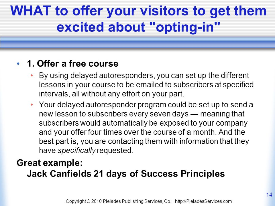 WHAT to offer your visitors to get them excited about opting-in 1.