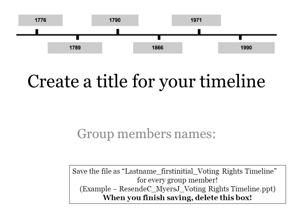 Create a title for your timeline Group members names: Save the file as Lastname_firstinitial_Voting Rights Timeline for every group member.