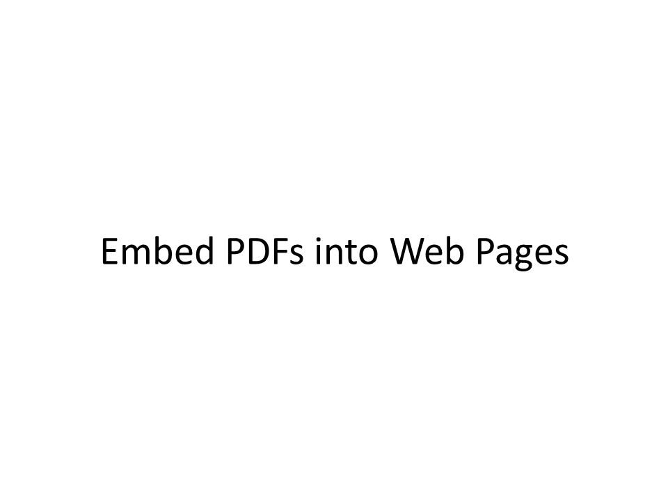 Embed PDFs into Web Pages