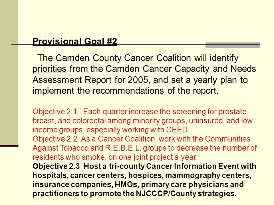 Provisional Goal #2 The Camden County Cancer Coalition will identify priorities from the Camden Cancer Capacity and Needs Assessment Report for 2005, and set a yearly plan to implement the recommendations of the report.