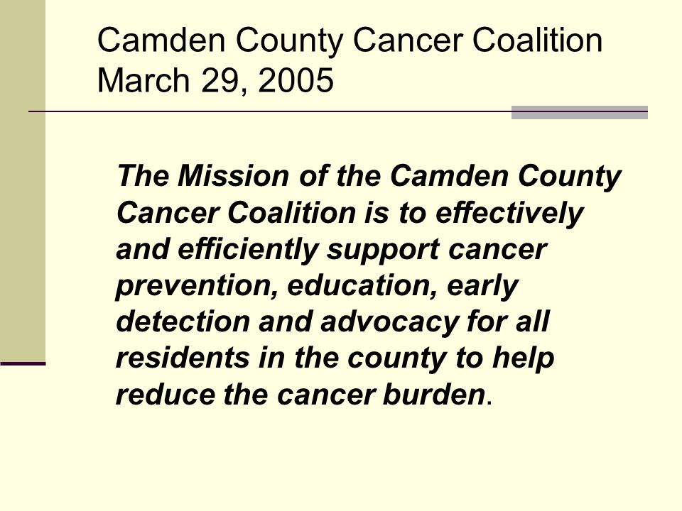 The Mission of the Camden County Cancer Coalition is to effectively and efficiently support cancer prevention, education, early detection and advocacy for all residents in the county to help reduce the cancer burden.
