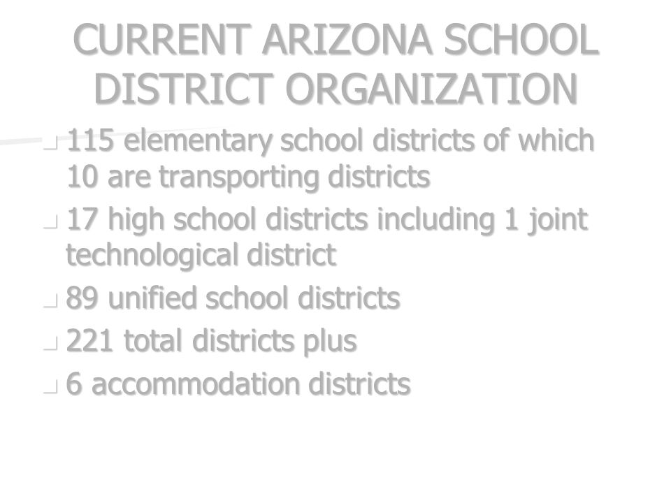 CURRENT ARIZONA SCHOOL DISTRICT ORGANIZATION 115 elementary school districts of which 10 are transporting districts 115 elementary school districts of which 10 are transporting districts 17 high school districts including 1 joint technological district 17 high school districts including 1 joint technological district 89 unified school districts 89 unified school districts 221 total districts plus 221 total districts plus 6 accommodation districts 6 accommodation districts