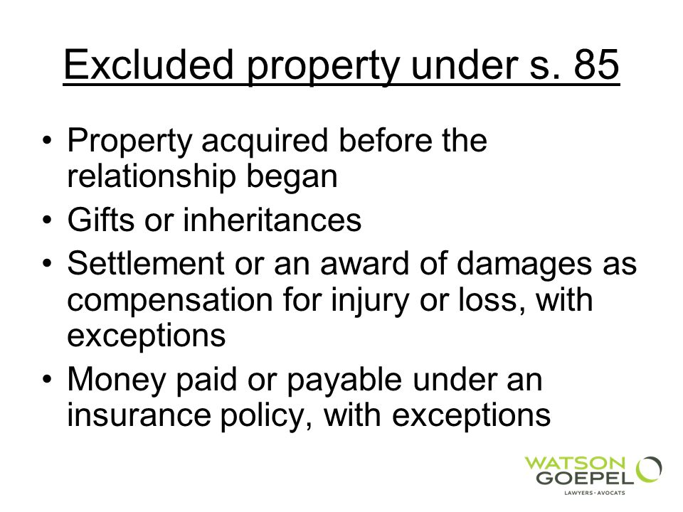 Excluded property under s.